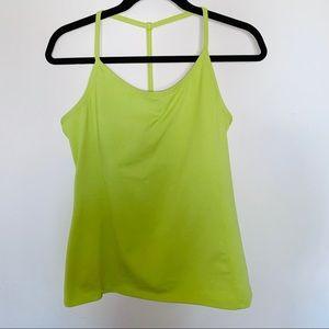 Athleta Lime Green Y Back Tank Top Built In Bra